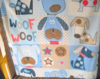 SALE Fleece Baby Doggie Blanket with Silk Binding - Lucy's Nini Collection