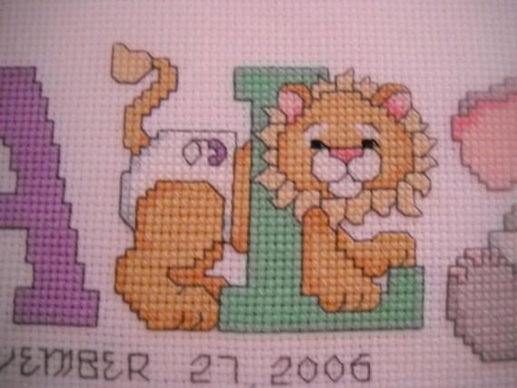 Custom Cross stitch Animal Letter