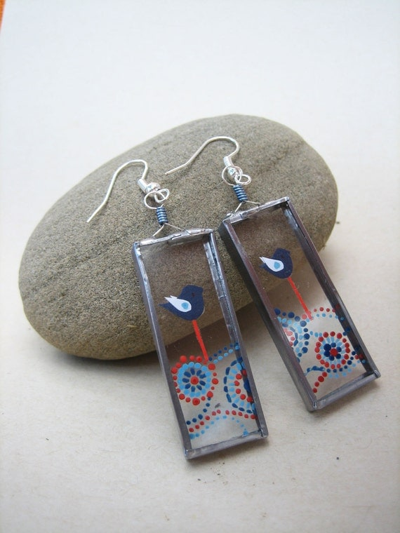 Blue Birds and Circular Pattern - Unique Glass Earrings
