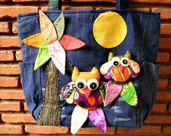 Navy Blue Owl Tote/ Shoulder Bag