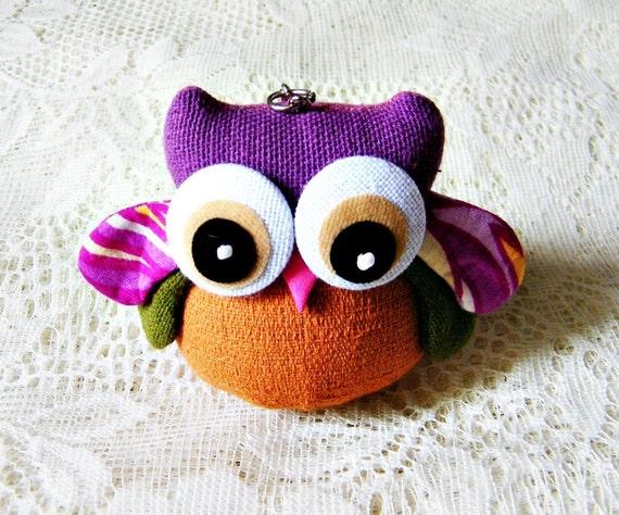 Purple And Brown Owl Keychain
