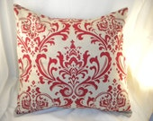 20x20 Red Damask Pillow Cover