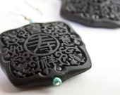 Eclectic Asian Themed Earrings in Turquoise and Soft Black