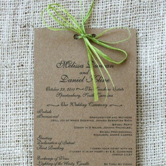 Items similar to Long Wedding Program, Recycled Paper, Elegant ...