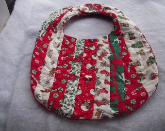 Christmas Vintage Strip Quilted Bib  SALE