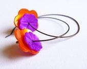 Flower power earrings purple orange shell beads