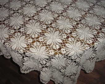 Square Ecru Tablecloth / Decorative / Gift / New Low Price /