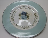Vintage Barratts delphatic white blue roses bread & butter china plate made in England.