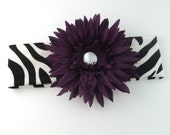 Purple Flower Zebra Headband