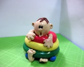 Baby in Walker Polymer Clay Figurine