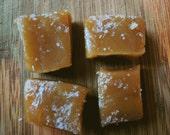 One dozen handmade organic classic vanilla fleur de sel caramels