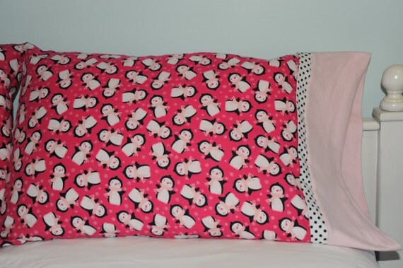 Over-sized flannel pillowcase in Pink Penguin