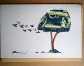 Blue Tree Greetings Card