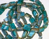 Teal Rectangle Bead 12x8mm Czech Glass Blue Picasso White TAHOE (10)