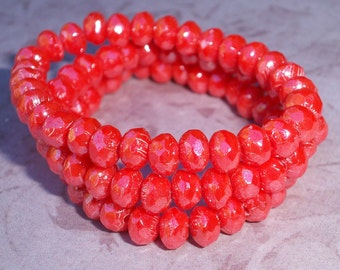 Coral Orange Bead 5x3mm Faceted Rondelle Czech Glass CORAL LUSTER (30)