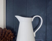 cottage chic, white country water pitcher