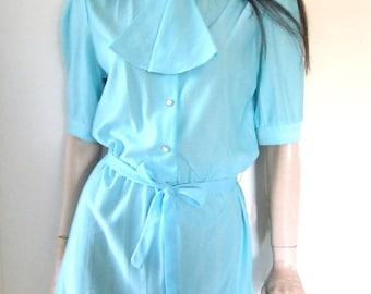70s ascot secretary mini dress / light aqua blue / size small medium