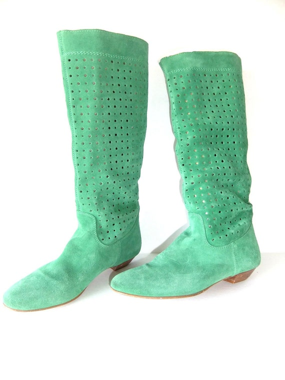 green suede boots, 80s flat boots, mid calf, perforated suede boots, SIZE 38