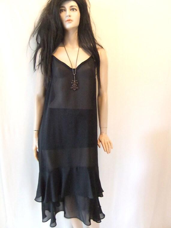 sheer black dress. black chiffon dress, slip dress, ruffles