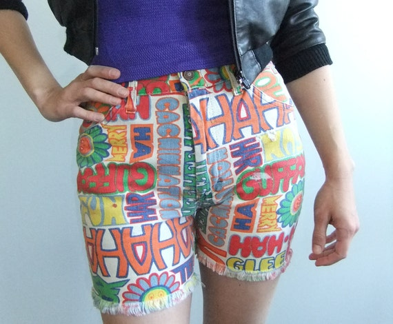 70 printed shorts, hippie shorts, cut offs, jean shorts, flower power