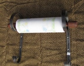 Hand Forged Kitchen Paper Towel Holder with Turned Dowel, Blacksmith Made