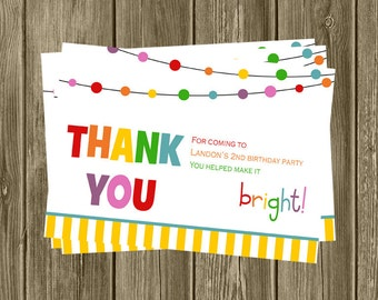 Colorful Birthday Thank You Cards