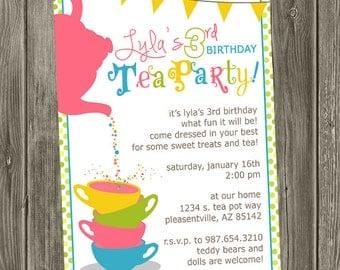 Tea Party Birthday Invitation Time for tea birthday little