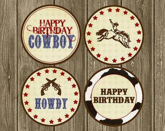 Cowboy Birthday Toppers/Tags