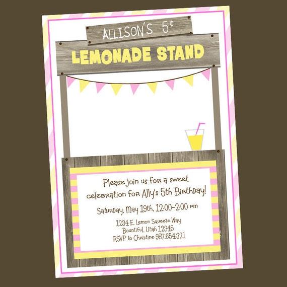 Items Similar To Lemonade Stand Birthday Invitation On Etsy