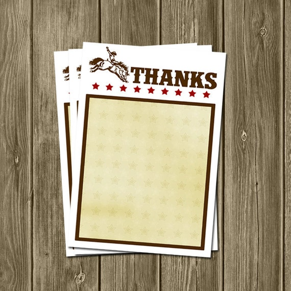 Cowboy Birthday Thank You Cards - Fill in the Blank