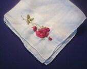 Vintage 1950s Handkerchief/Hankie/ Rose/Cotton/ Mothers Day