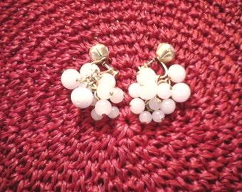Vintage 1940s 40s Brass Rose Screwback Drop Grapes Cluster Earrings Milk Glass World War II