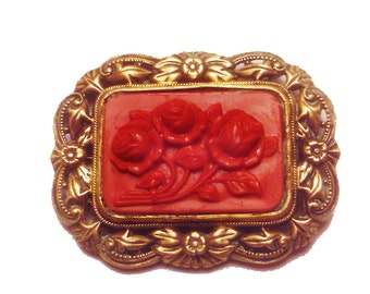 Vintage 1930s Celluloid Brooch/ Brass/ Faux Coral Estate Jewelry/ Mother's Day