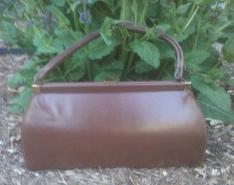 Vintage 1960s Brown Vinyl Purse Handbag  Mad Men Mod Jackie O