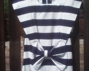 Vintage 1980s Dress Sailor Style New Wave SMALL  Molly Ringwald