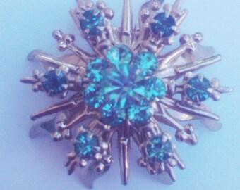 Vintage 1950s Brooch / Atomic Star/ Blue Rhinestones