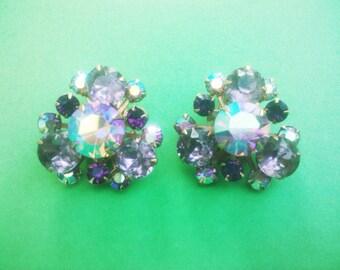 Vintage 1960s  BEAU JEWELS  Purple Pink AB Rhinestone Clip Earrings