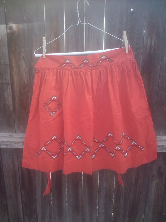 Vintage 1950s Apron / Red/ Rockabilly/ Housewife/ Handmade/ Embroidered