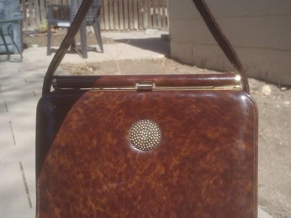 Vintage 1960s Tortoise Shell Purse Handbag Mod Mad Men Kelly Bag