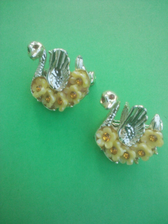 Vintage 1940s 1950s Swan Scatter Pins Brooches NOS New Old Stock Celluloid Rhinestones