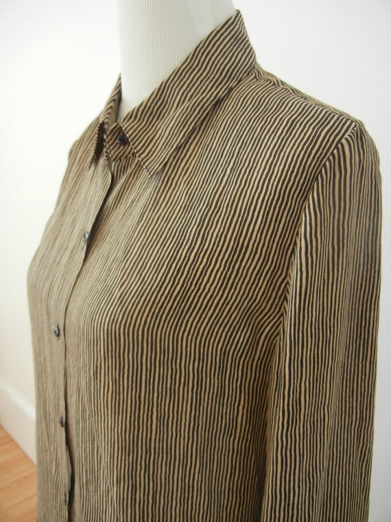 Reserved for roxanneleigha --1980's Coffee and Black Scribble Stripe Silk Blouse