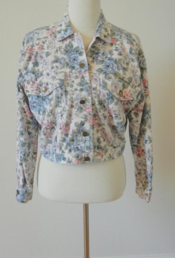1980's Floral Cropped Jean Jacket