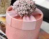 Handmade Box, Jewelry Box, Gift Box, Wedding Favors Box, Birthday Favor, Baby Shower Favor PINK ROUND