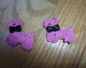 OMG a hot pink crochet dog with a bow tie