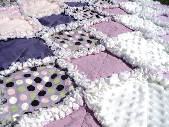Purple Rag Quilt with Polka Dots, Super Soft Crib Blanket and Accent Pillow