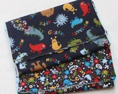 Boutique Style Burp Cloths-Set of 2-Michael Miller Monsters Navy