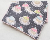 Boutique Style Burp Cloths-Set of 2-Michael Miller It's A Girl Thing Quaint Cupcakes Gray