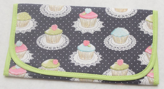 Portable Changing Pad-Michael Miller It's A Girl Thing Quaint Cupcakes Gray