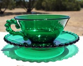 Vintage Emerald Green Clear Glass Cup & Saucer Viking Dalzell