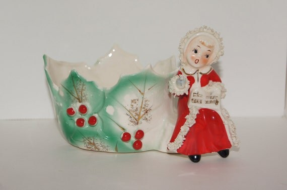 Antique Christmas Singing Choir Girl with Songbook Holly Planter by Napco Ceramic